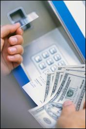 A receipt, debit card and a handful of cash.