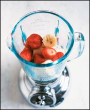 Fruit in a blender.