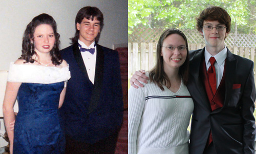 On the left: me 20 years ago with my prom date, Mike. On the right: Me last weekend with my son.